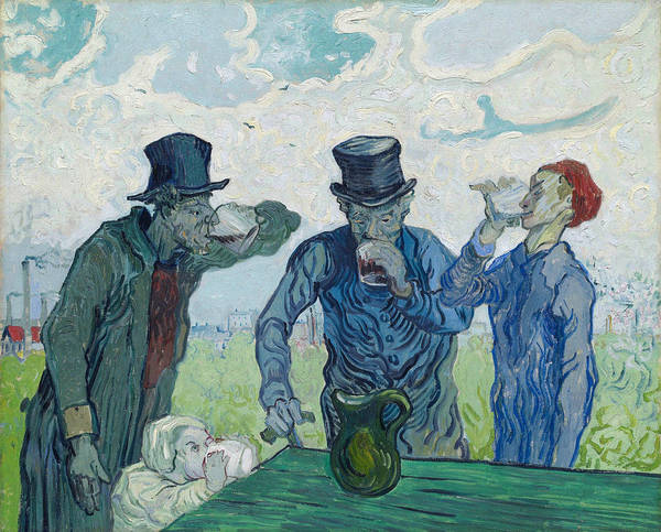 Emanate Painting - The Drinkers After Daumier, 1890 by Vincent Van Gogh