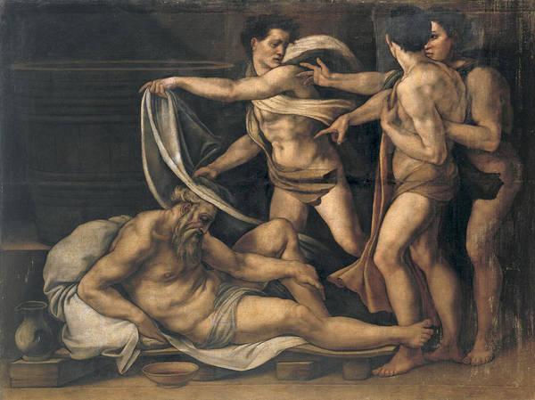 Buonarroti Wall Art - Painting - The Drunkenness Of Noah by Follower of Michelangelo Buonarroti