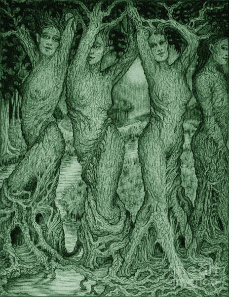 Celtic Mythology Wall Art - Drawing - The Dryads by Debra A Hitchcock
