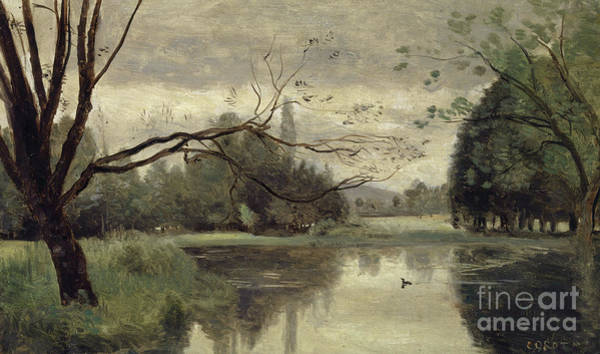 Grey Skies Wall Art - Painting - The Duck Pond by Jean Baptiste Camille Corot