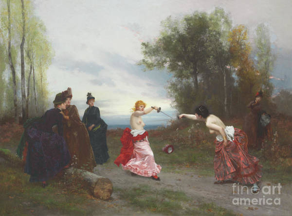 Wall Art - Painting - The Duel, 1884 by Emile Antoine Bayard