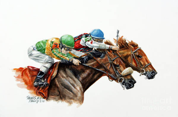 Thoroughbred Racing Wall Art - Painting - The Duel by Thomas Allen Pauly