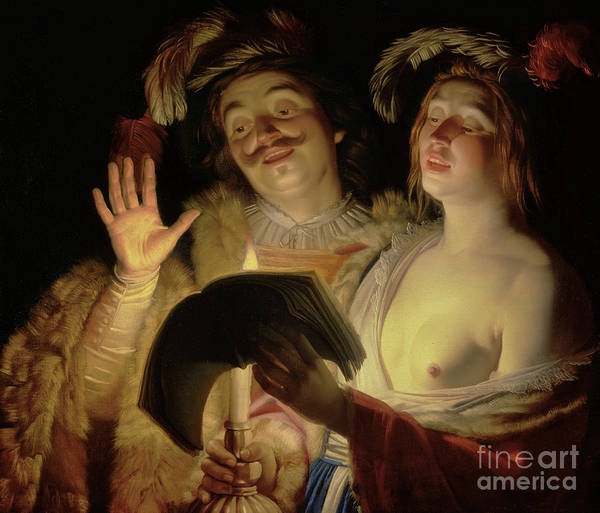 Choral Wall Art - Painting - The Duet, 1624 by Gerrit van Honthorst