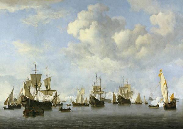Wall Art - Painting - The Dutch Fleet In The Goeree Roads by Willem Van De Velde Ii