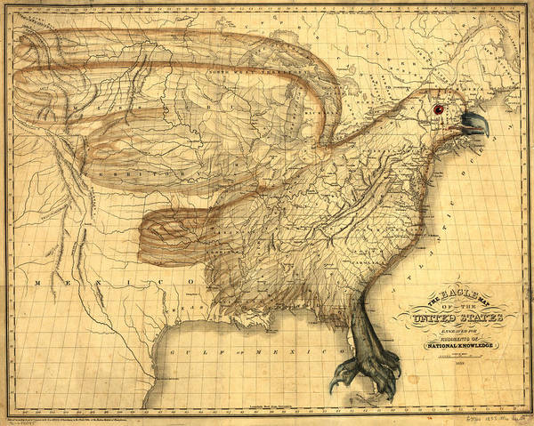 Painting - The Eagle Map Of The United States  by Carey and Hart