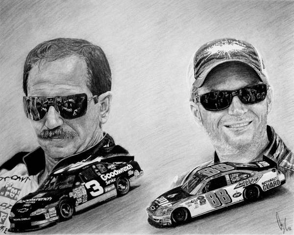 Graphite Drawing - The Earnhardts by Bobby Shaw