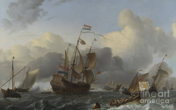 Wall Art - Painting - The Eendracht And A Fleet Of Dutch Men Of War by Ludolf Backhuysen