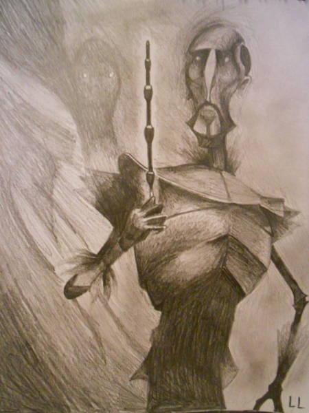 Wall Art - Drawing - The Elder Wand by Lisa Leeman