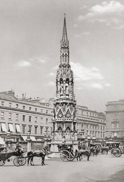 Wall Art - Drawing - The Eleanor Cross, Charing Cross by Vintage Design Pics