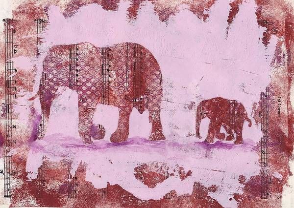 Mixed Media - The Elephant March by Ruth Kamenev