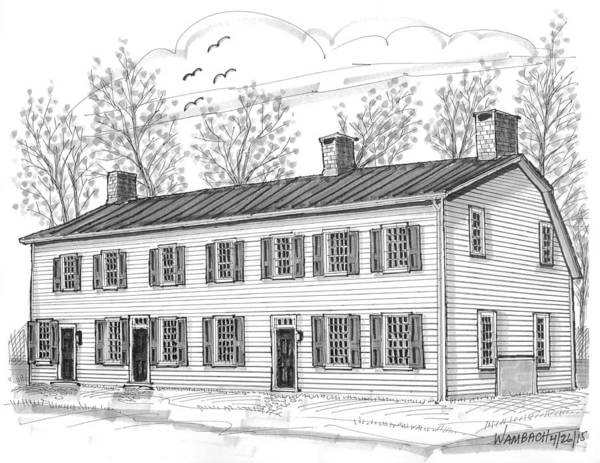 Drawing - The Elmendorph Inn Red Hook Ny by Richard Wambach