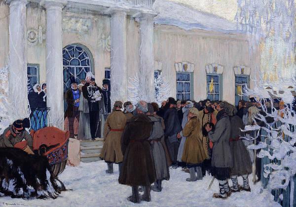 Evolution Painting - The Emancipation Of Russian Serfs by Boris Mihajlovic Kustodiev