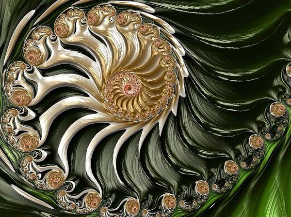 Art Print featuring the digital art The Emerald Queen's Nautilus by Susan Maxwell Schmidt