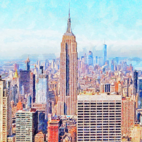 Photograph - The Empire State Building And The Manhattan New York Skyline 20180508 Square by Wingsdomain Art and Photography
