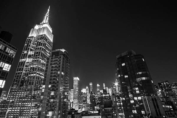 Photograph - The Empire State Building In Red White And Blue New York Ny Black And White by Toby McGuire
