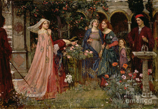 Victorian Garden Wall Art - Painting - The Enchanted Garden by John William Waterhouse
