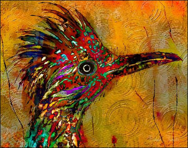 Wall Art - Mixed Media - The Enchanted Roadrunner by Barbara Chichester