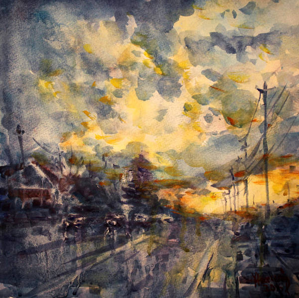 Boulevard Painting - The End Of A Beautiful Day by Ylli Haruni