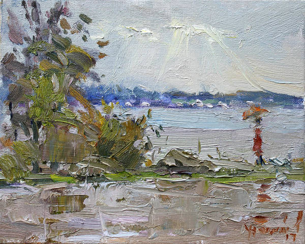 Gray Painting - The End Of A Rainy And Gray Day  by Ylli Haruni