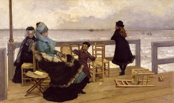 Platform Painting - The End Of October by Ernest Ange Duez