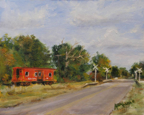 Red Caboose Painting - The End Of The Line by Ann Caudle