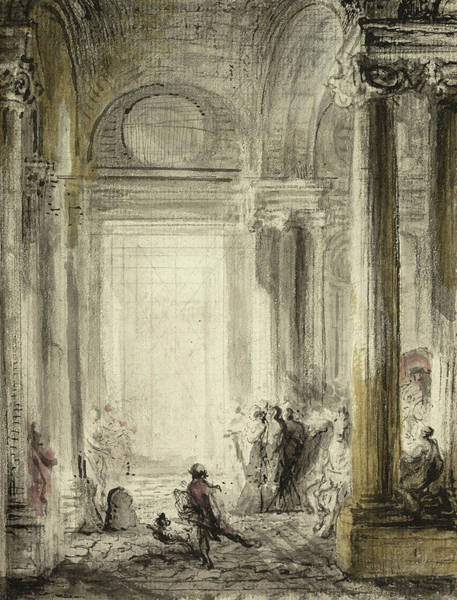 Columns Drawing - The Entrance Of The Academy Of Architecture At The Louvre by Gabriel de Saint-Aubin