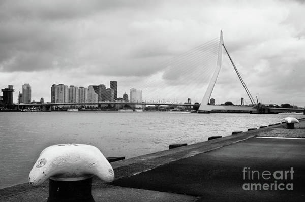 Wall Art - Photograph - The Erasmus Bridge In Rotterdam Bw by RicardMN Photography