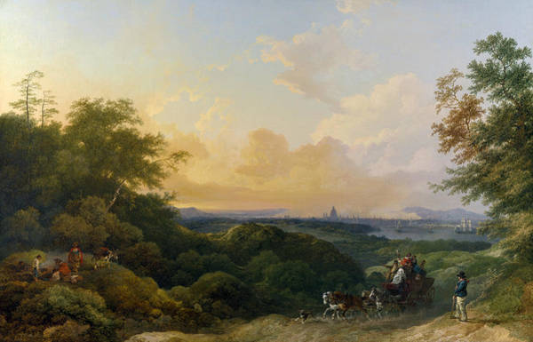 18th Century Wall Art - Painting - The Evening Coach, London In The Distance by Philip James de Loutherbourg