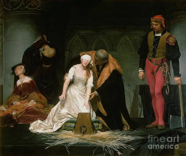 Kneeling Painting - The Execution Of Lady Jane Grey by Hippolyte Delaroche