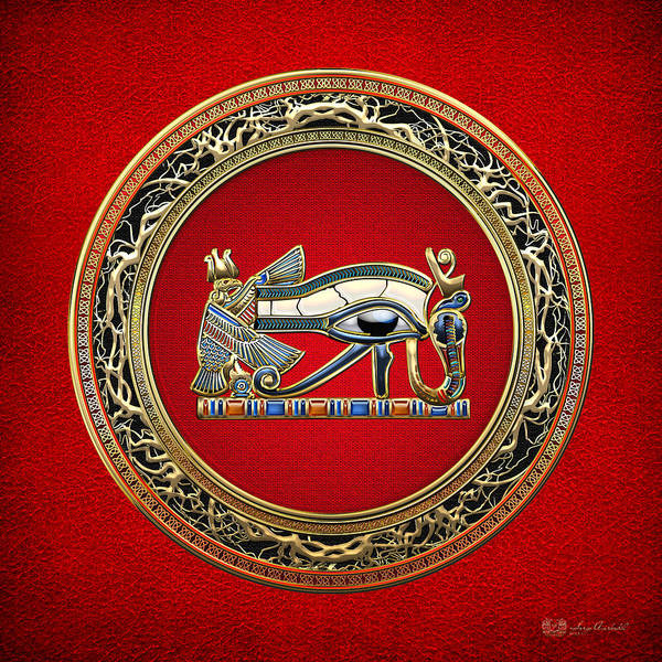 Wall Art - Photograph - The Eye Of Horus On Red by Serge Averbukh