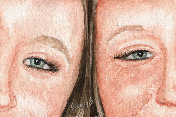 Twins Painting - The Eyes Have It- K And K by Sam Sidders