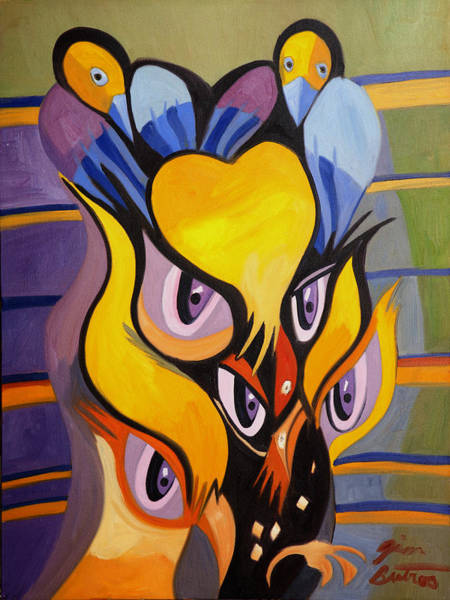 Hijack Wall Art - Painting - The Eyes Of Owls And Crows by Jimmy Butros
