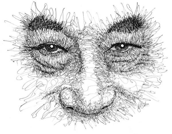 Drawing - The Eyes Of The Dalai Lama by Peter Cutler