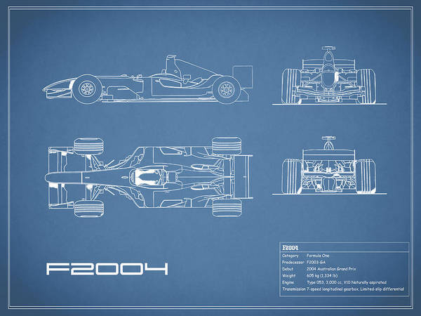 Wall Art - Photograph - The F2004 Gp Blueprint by Mark Rogan
