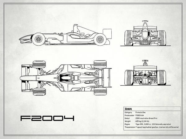 Wall Art - Photograph - The F2004 Gp Blueprint - White by Mark Rogan