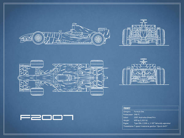 Wall Art - Photograph - The F2007 Gp Blueprint by Mark Rogan