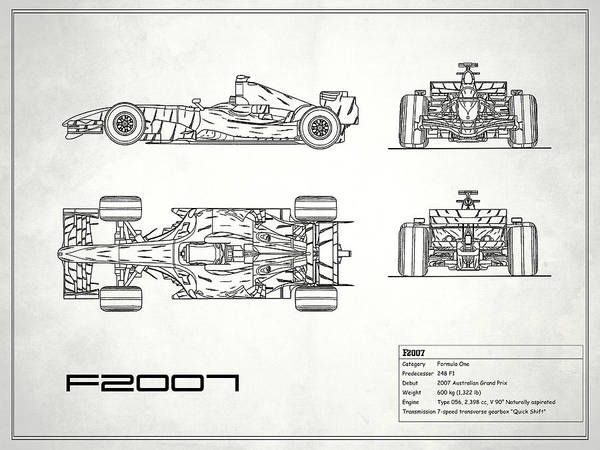 Wall Art - Photograph - The F2007 Gp Blueprint - White by Mark Rogan