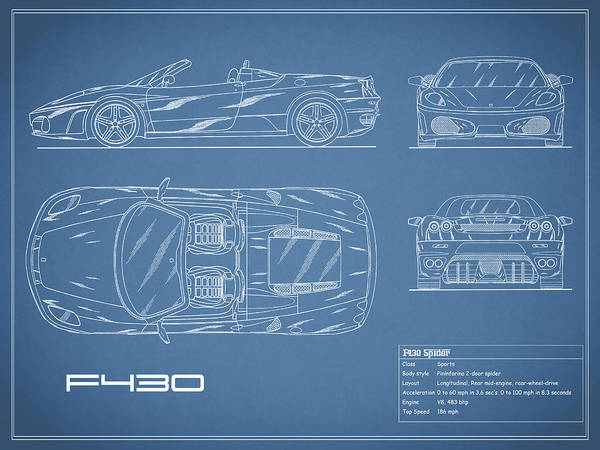 Wall Art - Photograph - The F430 Blueprint by Mark Rogan