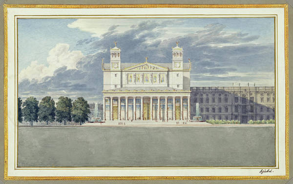 Painting - The Facade And Suroundings Of A Cathedral For Berlin by Karl Friedrich Schinkel