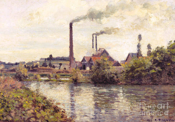 Wall Art - Painting - The Factory At Pontoise, 1873 by Camille Pissarro
