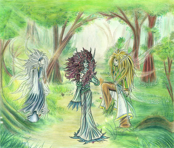 Painting - The Fae - Sylvan Creatures Of The Forest by Shawn Dall