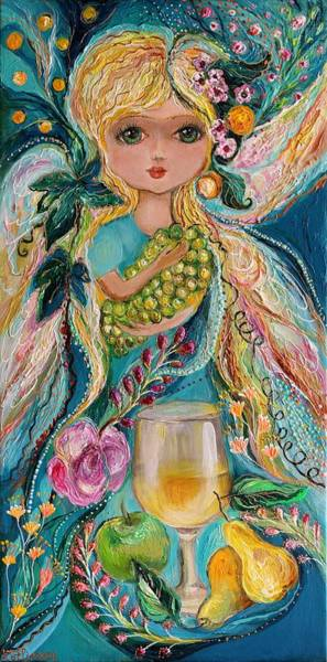 Wall Art - Painting - The Fairies Of Wine Series - Chardonnay by Elena Kotliarker
