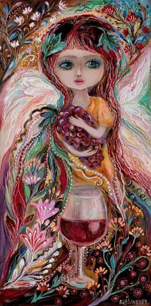 Wall Art - Painting - The Fairies Of Wine Series - Merlot by Elena Kotliarker