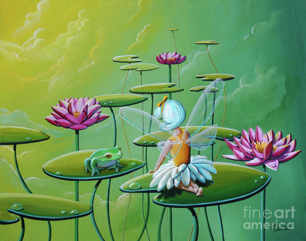 Wall Art - Painting - The Fairy And The Frog by Cindy Thornton