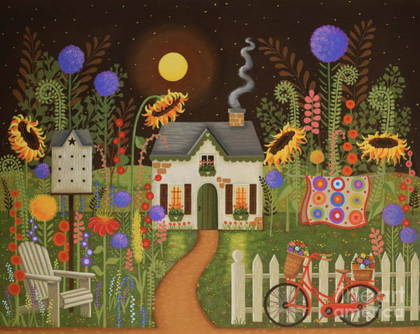 Adirondack Chair Wall Art - Painting - The Fairy Garden by Mary Charles