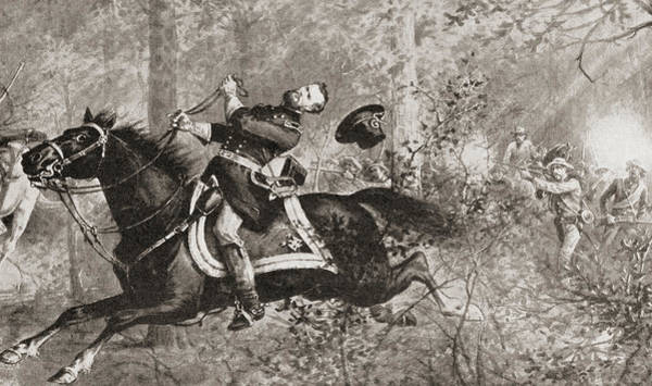 Shooting Drawing - The Fall Of General James Birdseye Mcpherson by American School