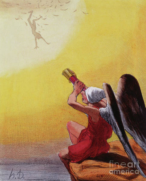Wax Painting - The Fall Of Icarus  by Honore Daumier