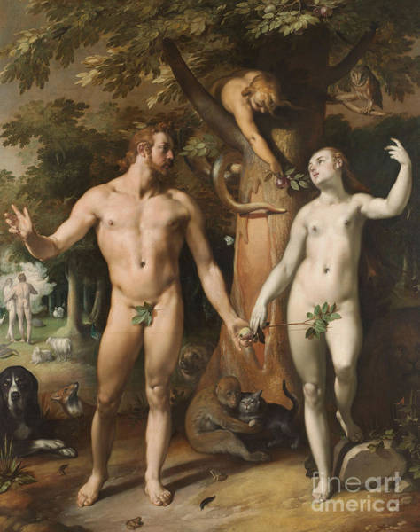 Adam And Eve Wall Art - Painting - The Fall Of Man, 1592 by Cornelis van Haarlem
