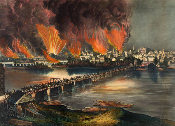Currier And Ives Painting - The Fall Of Richmond On The Night Of April 2nd 1865 by Mountain Dreams
