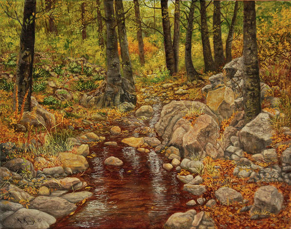 Wall Art - Painting - The Fall Stream by Roena King